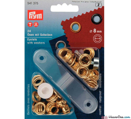 Prym - Eyelets - Gilt / Gold (No-Sew) 8mm - Pack of 24 - WeaverDee.com Sewing & Crafts