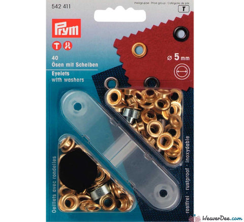 Prym - Eyelets - Gilt / Gold (No-Sew) 5mm - Pack of 40 - WeaverDee.com Sewing & Crafts