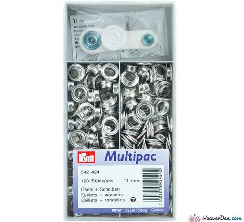 Prym - Eyelets - Nickel / Silver (No-Sew) 11mm - Pack of 120 - WeaverDee.com Sewing & Crafts