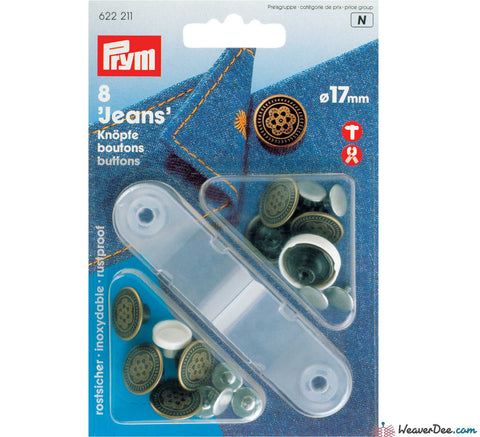 Prym - Jeans Buttons Antique Brass 17mm (No-Sew): Pack of 8 - WeaverDee.com Sewing & Crafts - 1