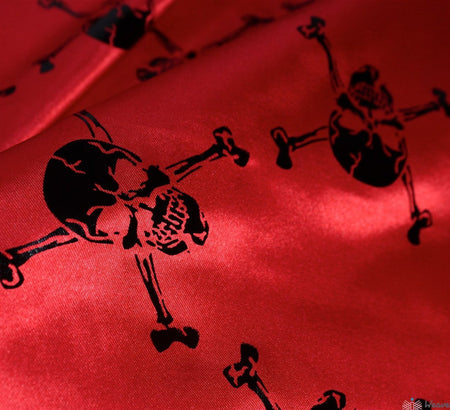 WeaverDee - Skull & Crossbone Red Satin Fabric - WeaverDee.com Sewing & Crafts - 1