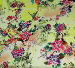 WeaverDee - Silky Satin Fabric - Lemon Floral Dreamscape - WeaverDee.com Sewing & Crafts - 1
