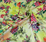 WeaverDee - Silky Satin Fabric - Lemon Floral Dreamscape - WeaverDee.com Sewing & Crafts - 6