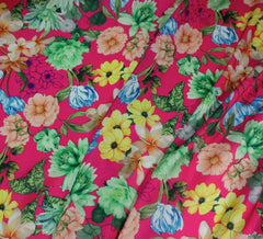 WeaverDee - Silky Satin Fabric - Floral Charmed Cerise - WeaverDee.com Sewing & Crafts - 1