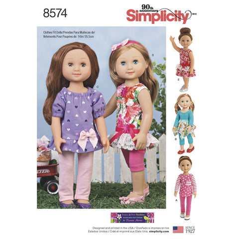 "Simplicity Pattern S8574 14"" Doll Clothes"