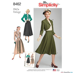 Simplicity Pattern S8462 Misses' Vintage 1940s Blouse, Skirt & Lined Bolero