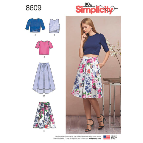 Simplicity Pattern S8609 Misses' Skirts & Knit Tops