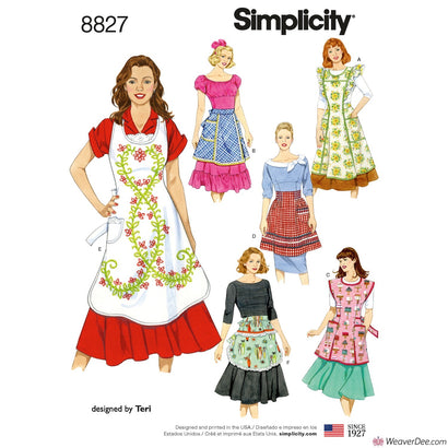 Simplicity Pattern S8827 Misses' Aprons