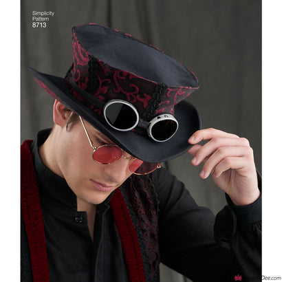 Simplicity Pattern S8713 Men's Costume Hats in 3 Sizes