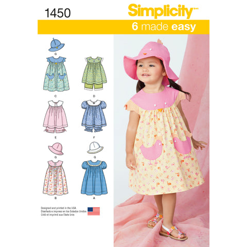 Simplicity Pattern S1450 Toddlers' Dress, Top, Panties & Hat