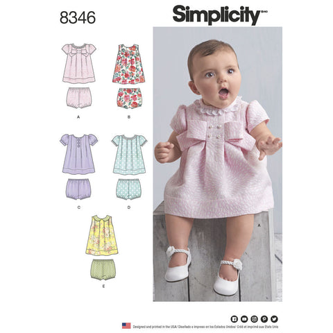 Simplicity Pattern S8346 Babies' Dress & Panties