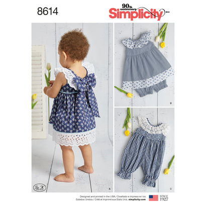 Simplicity Pattern S8614 Babies' Dress, Romper & Panties