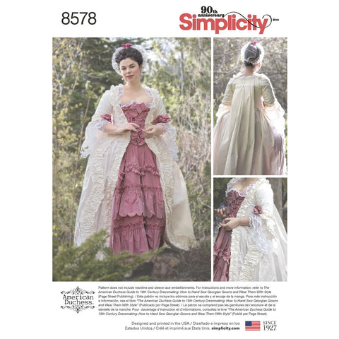 Simplicity Pattern S8578 Misses' 18th Century Gown Costume