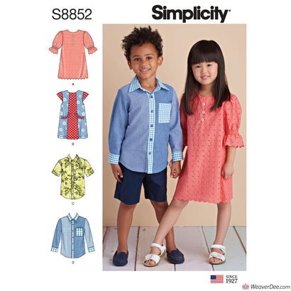 Simplicity Pattern S8852 Children's Dresses & Shirt