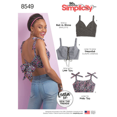 Simplicity Pattern S8549 Misses' Bra Tops