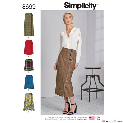 Simplicity Pattern S8699 Misses' Wrap Skirts with Length Variations