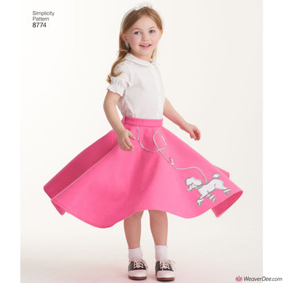 Simplicity Pattern S8774 Children's & Girls' Retro 1950s Poodle Skirt Costumes