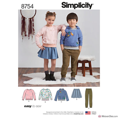 Simplicity Pattern S8754 Children's Pants, Skirt & Sweatshirts
