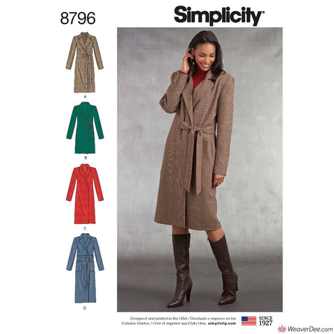 Simplicity Pattern S8796 Misses'/ Miss Petite Lined Coats