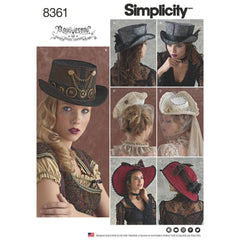 Simplicity Pattern S8361 Victorian / Steampunk Hats in 3 Sizes
