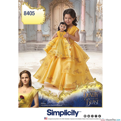 "Simplicity Pattern S8405 Disney Beauty & the Beast Costume for Child & 18"" Doll"
