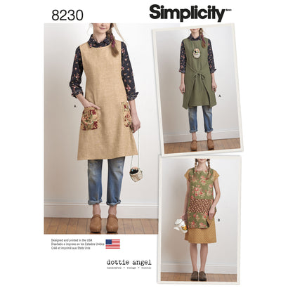 Simplicity - S8230 Misses' Dottie Angel Reversible Apron Dress & Tabard - WeaverDee.com Sewing & Crafts - 1