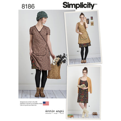 Simplicity - S8186 Misses' Dottie Angel Frock: Wrap & Slip Dress - WeaverDee.com Sewing & Crafts - 1