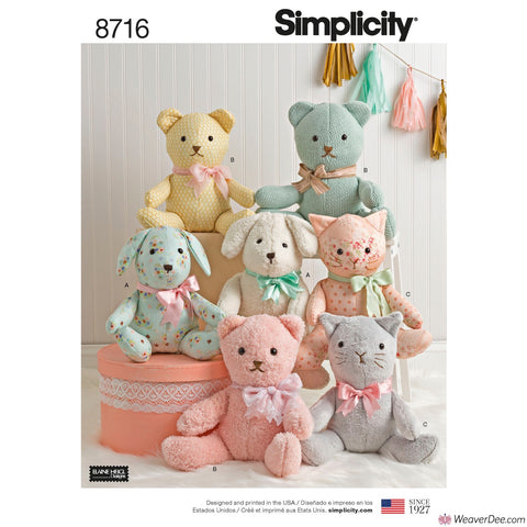 Simplicity Pattern S8716 Stuffed Animal Teddies