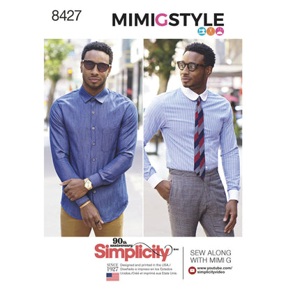 Simplicity Pattern S8427 Men's Fitted Shirt with Collar & Cuff Variations by Mimi G
