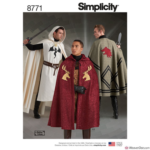 Simplicity Pattern S8771 Unisex Capes - Medieval Knight