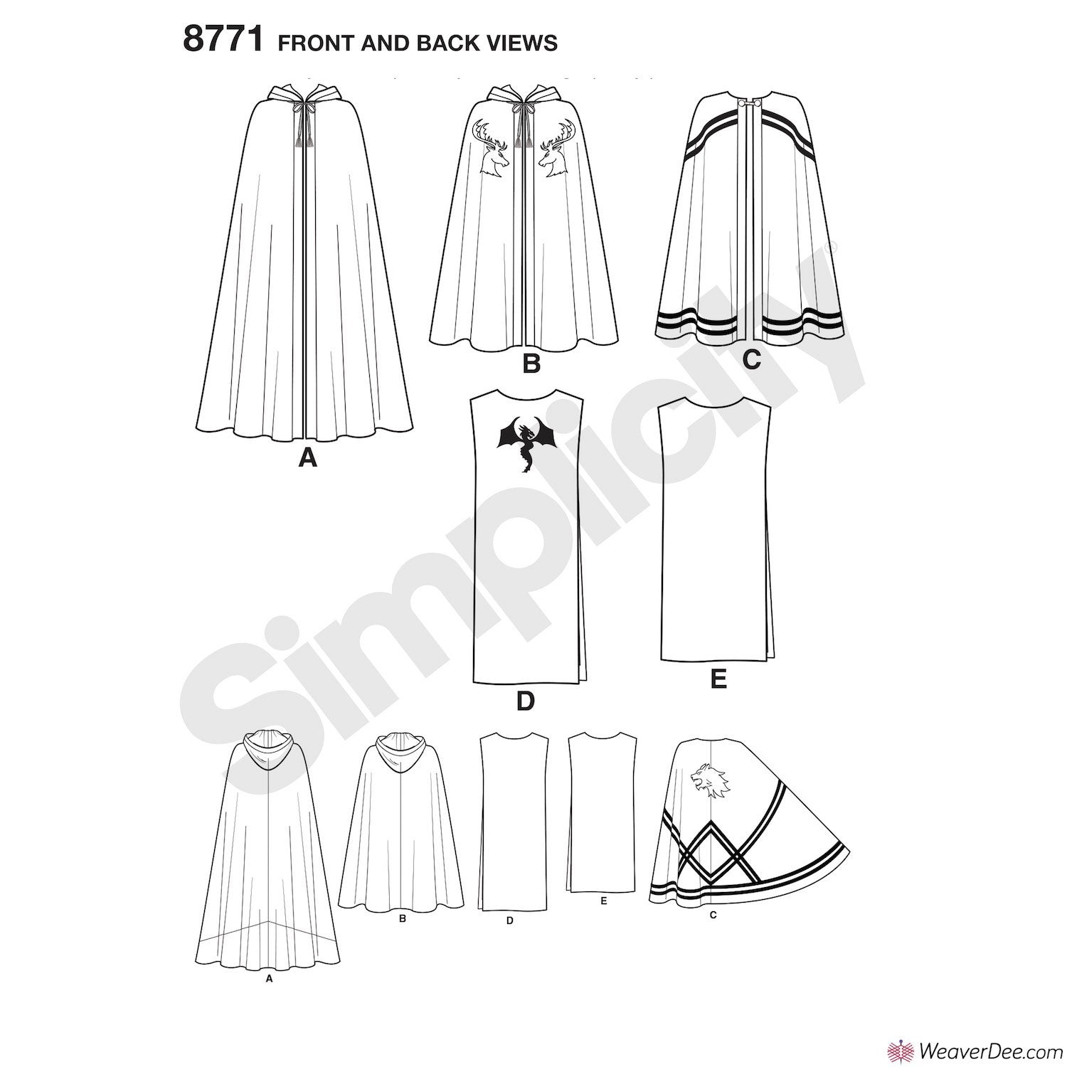 Simplicity Pattern S8771 Unisex Capes - Medieval Knight – WeaverDee.com