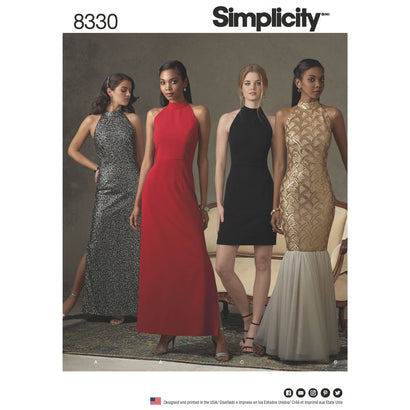 Simplicity Pattern S8330 Misses' Dress with Skirt & Back Variations