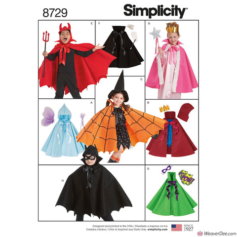 Simplicity Pattern S8729 Child's Cape Costumes