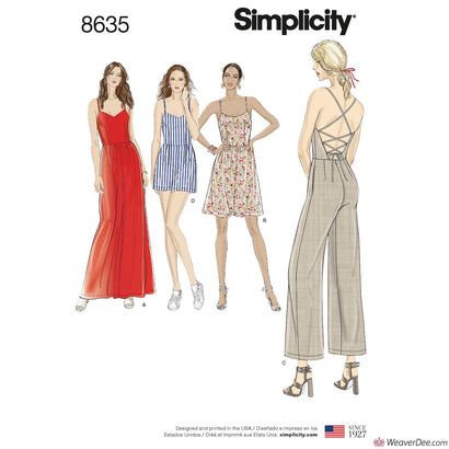 Simplicity Pattern S8635 Misses' Dress, Jumpsuit & Romper