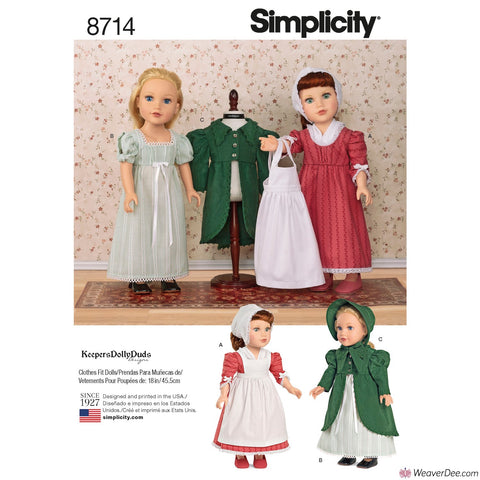 "Simplicity Pattern S8714 18"" Doll Clothes"