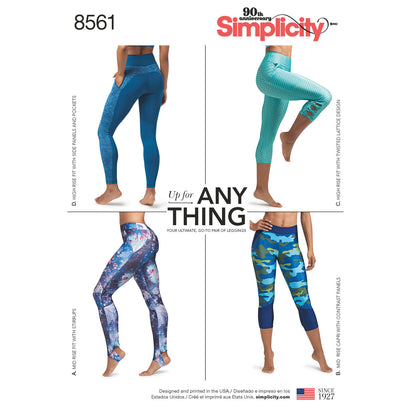 Simplicity Pattern S8561 Misses' & Women's Leggings