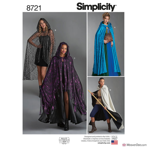 Simplicity Pattern S8721 Misses' Fantasy Capes