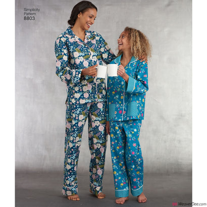 Simplicity Pattern S8803 Pyjama Bottoms & Shirt (Girls' & Misses')