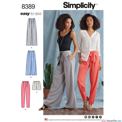 Simplicity Pattern S8389 Misses' Pants with Length & Width Variations & Tie Belt