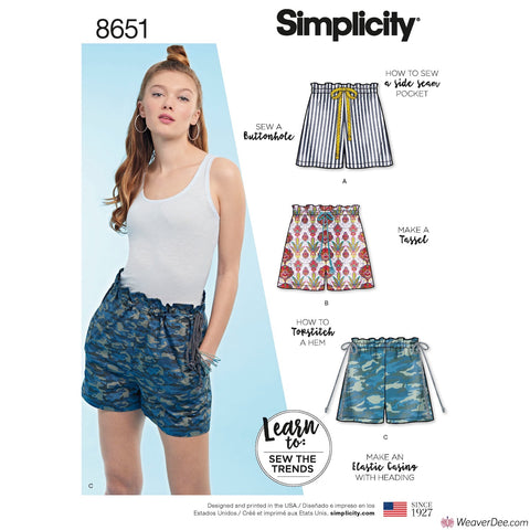 Simplicity Pattern S8651 Learn to Sew Pull-On Shorts