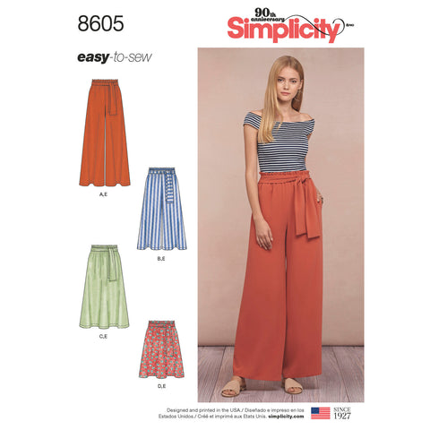 Simplicity Pattern S8605 Misses' Pull-On Skirt & Pants