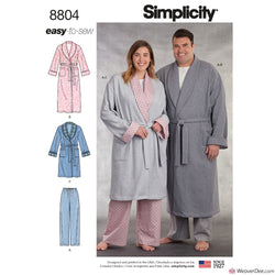 Simplicity Pattern S8804 Dressing Gown & Pyjama Bottoms (Women's Plus Size & Men's)