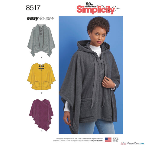 Simplicity Pattern S8517 Misses' Set of Ponchos