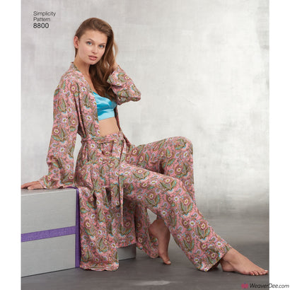Simplicity Pattern S8800 Misses' Robe, Pants, Top & Bralette