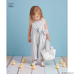 Simplicity Pattern S8850 Toddlers' Dress, Jumpsuit, Basket & Toy