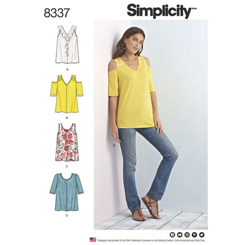 Simplicity Pattern S8337 Misses' Knit Tops with Bodice & Sleeve Variations