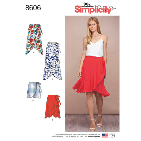 Simplicity Pattern S8606 Misses' Wrap Skirt in 4 Lengths