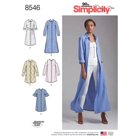 Simplicity Pattern S8546 Misses' / Miss Petite Shirt Dresses
