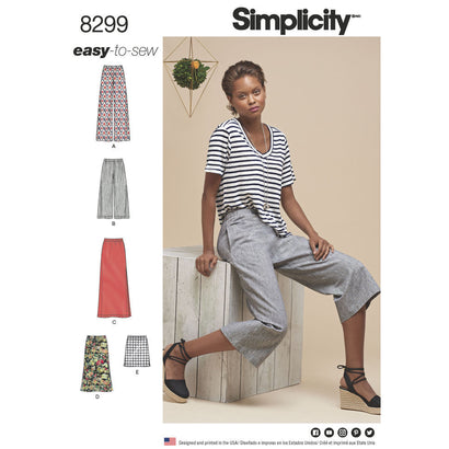 Simplicity Pattern S8299 Misses' Skirts or Pants in Various Lengths
