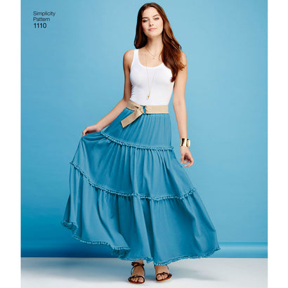 Simplicity - S1110 Misses' Tiered Skirt with Length Variations - WeaverDee.com Sewing & Crafts - 1